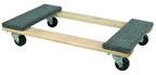 CARPETED WOOD 4-WHEEL MOVING DOLLY